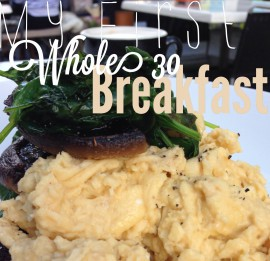 Whole 30 | Day 1.. Scrambled Eggs, Roasted Mushrooms, Sauteed Spinach.. Almond Milk Chai Latte :)